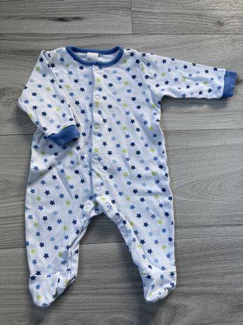 Pajacyk pidżamka niemowlęca Baby Club 62 biały niebieski gwiazdki