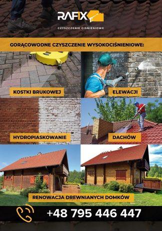 Mycie Cisnieniowe,Remowacja Domkow z drewna,Elewacji,Dachow,Kostki