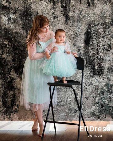 Нарядные платья family look, платье мама дочка, наряды на годик