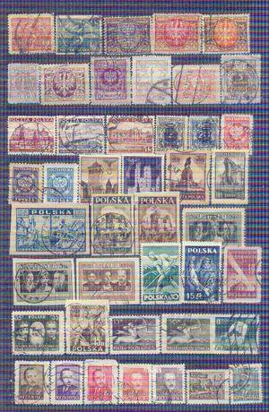 Stare znaczki kasowane Polska 4 strony A4 za 8 zł