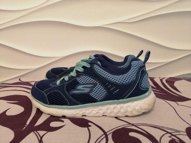 Скетчерс синие кроссовки с бирюзой 19 см 30 размер
