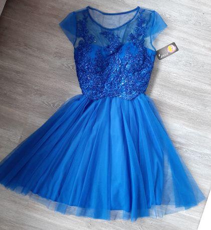 Chabrowa sukienka z tiulowym dołem