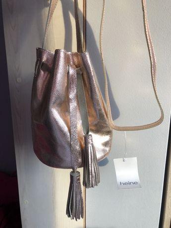 Nowa skórzana torebka złota HEINE