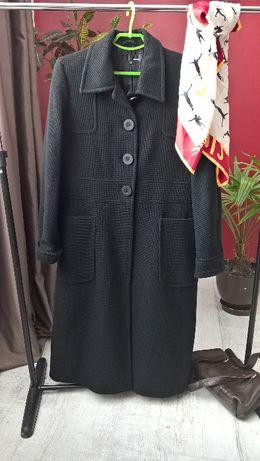 Буклированное черное макси пальто от hennes(h&m)/длинное/с карманами