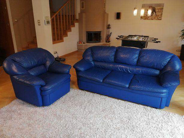 Sofa skórzana 3-osobowa z funkcją spania + fotel z szufladą