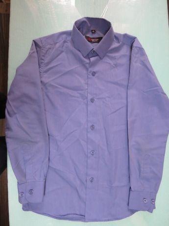 Рубашка на мальчика с длинным рукавом синяя размер 32