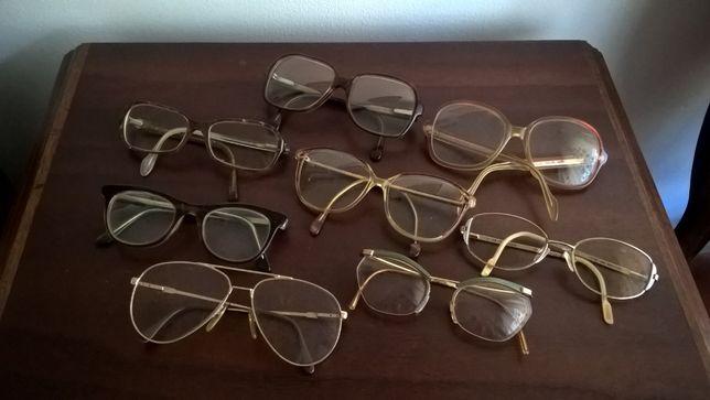 Oito armações de óculos vintage. Usadas.