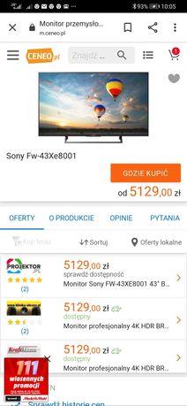 Telewizor 43-calowy monitor profesjonalny 4K HDR BRAVIA Fw-43xe8001