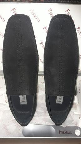 Туфли черные замшевые Fermani