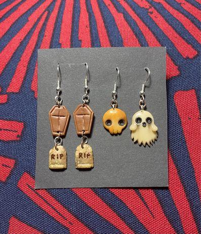 Kolczyki czaszka duszek trumny z modeliny-handmade