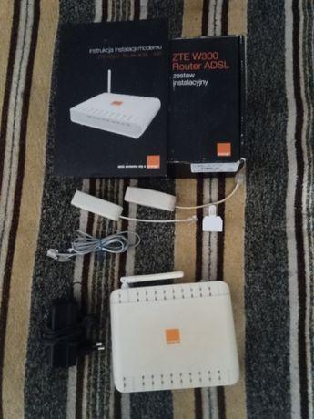 router zte w300 adsl zasilacz rj11 wifi 2 mikrofiltry rozgałęźnik