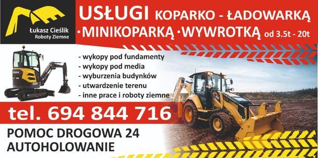 Koparko-ładowarka Minikoparka Wywrotka Koparka Usługi