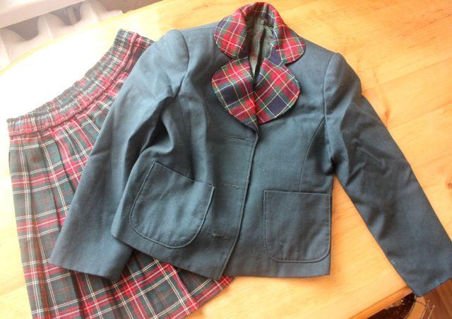 Школьная форма,костюм для девочки зеленый,в клетку(пиджак,юбка)