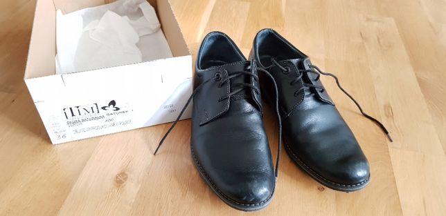 Chłopięce buty komunijne, skóra, czarne, rozm 36