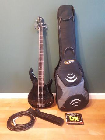 Gitara basowa Yamaha TRBX-305 BL plus kable pokrowiec zapasowe struny