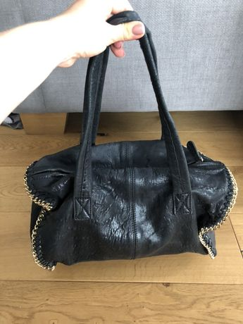 ZARA woman bowling bag czarna 100% skóra łańcuchy