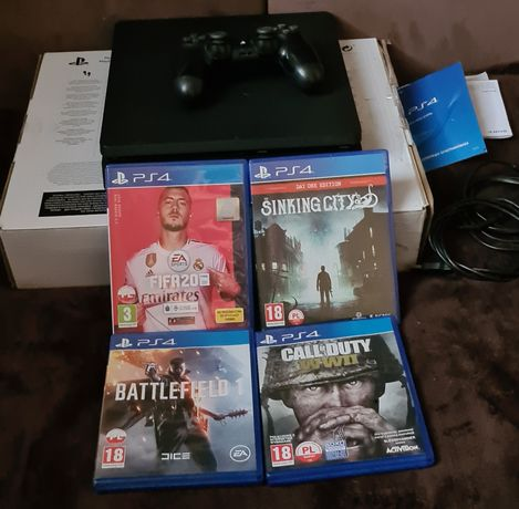 Playstation 4 Slim 1TB+pad+4 gry