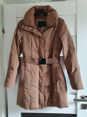 Puchowy brązowy płaszcz zimowy ZARA M 38