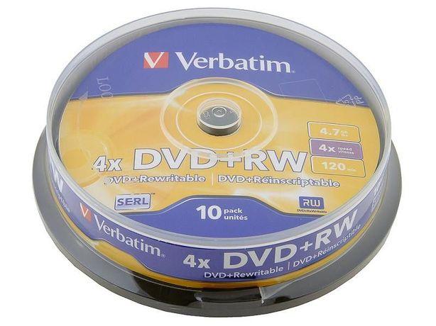 Диски Verbatim DVD+RW 4,7 GB 4x Cake Box 10 шт. в упаковке (новые).