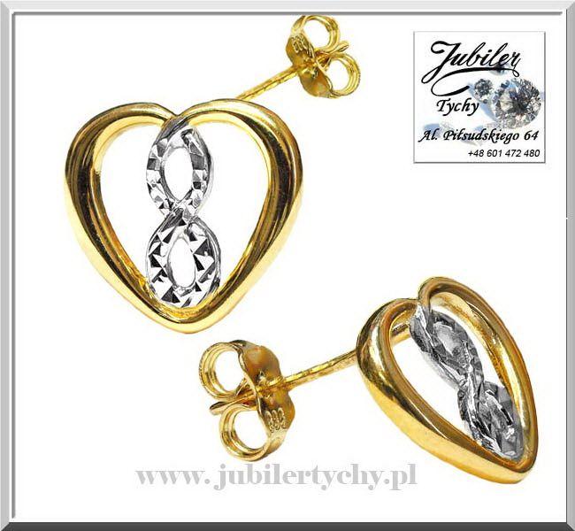 Złote kolczyki serduszka w sercu nieskończoność serduszko białe złoto