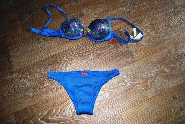 купальник новый синий яркий с пайетками блестящий 44
