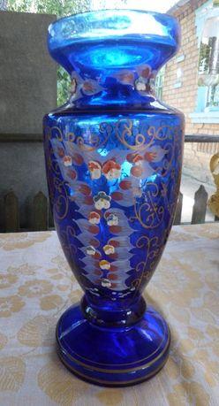 Красивая ваза, кобальтовое синее стекло. Новая. Кобальт. Подарок
