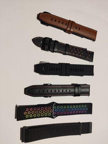Braceletes de velcro, silicone e couro para smartwatch 20 e 22mm