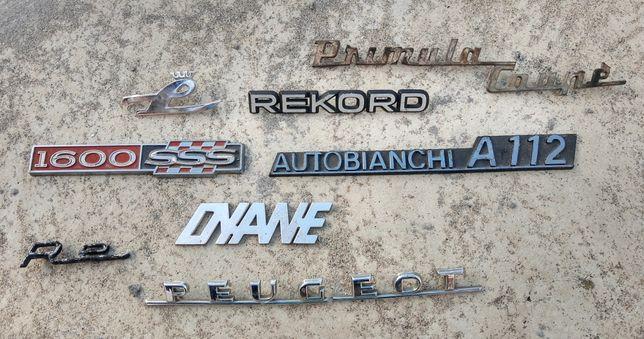Símbolos emblemas de várias marcas de automóveis antigos