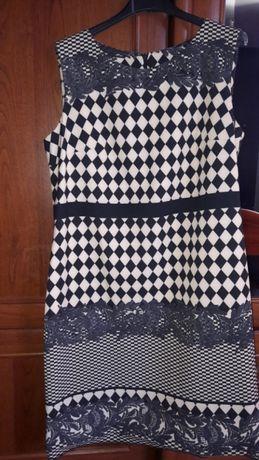 Sukienka M-L czarno-kremowa
