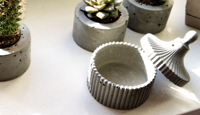 Pudełka z betonu na biżuterię - komplet - 4 sztuki