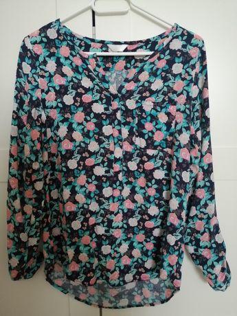Granatowa koszula damska w kwiaty