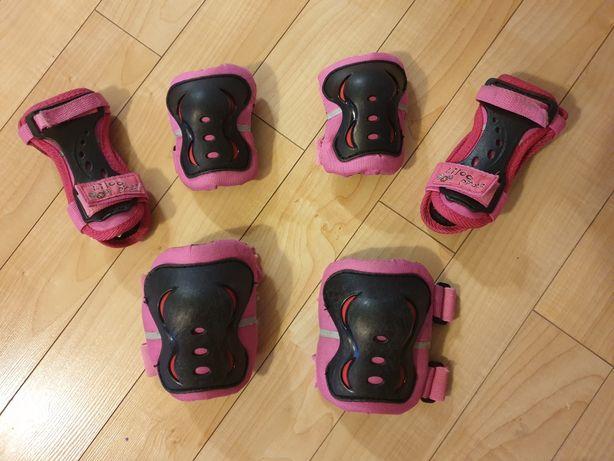Komplet ochraniaczy różowy dla dziewczynki 6-8lat