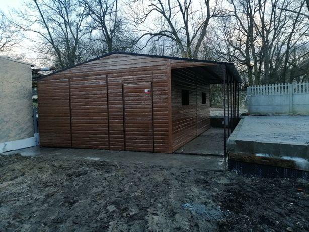 garaż 5x6 plus wiata 1,5x6, garaże drewnopodobne, blaszaki