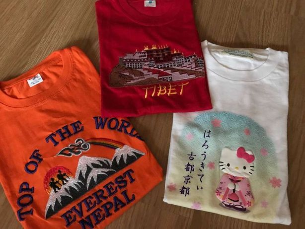 T-shirts países - Tibete, Nepal e Japão