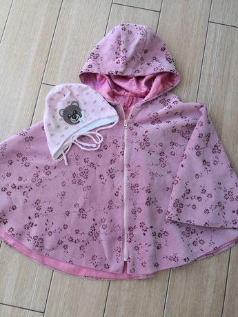 Płaszczyk pelerynka różowa 98 + czapka