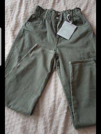 Pull&Bear nowe spodnie khaki M bardzo wysoki stan