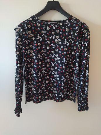 Bluzka by design czarna w kwiaty XS 34 bydesign