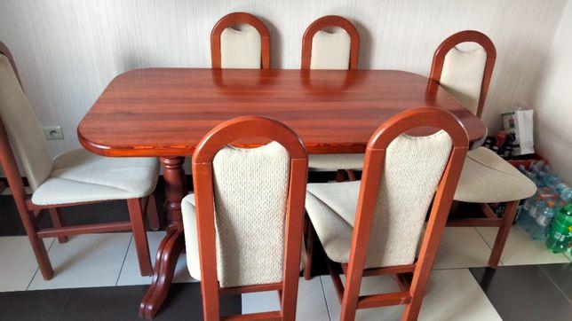 Stół drewniany kuchenny z sześcioma krzesłami