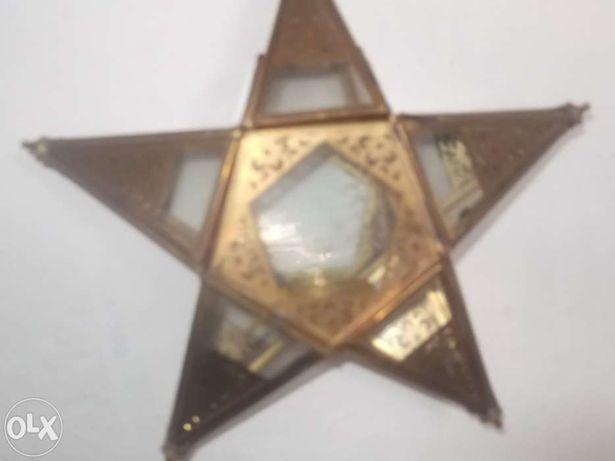 Peça iluminação para velas redondas em forma de estrela