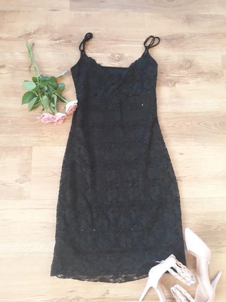 sukienka s czarna ze srebrną nitka. Wysyłka 5zł
