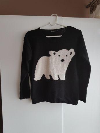 Orginalny czarny sweterek z bialym niedźwiadkiem INTERNACJONALE roz S