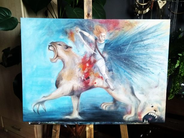 Obraz 50x70 abstrakcja OLEJ + AKRYL