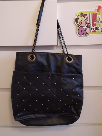 Czarna duża pikowana torebka