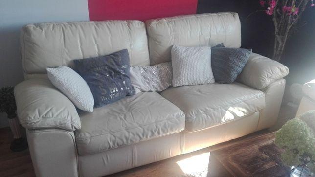 Komplet Kanapa - fotel - stolik - BIAŁA SKÓRA w dobrym stanie !