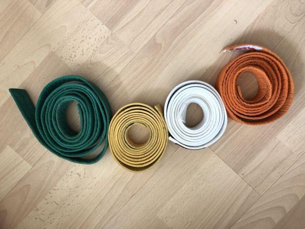 4 pasy karate biały, żółty, pomarańczowy i zielony