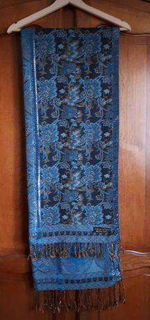 Długi, turkusowy szal pashmina