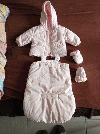 Śpiworek kombinezon dla niemowlaka dziewczynki rozmiar 56 stan idealny