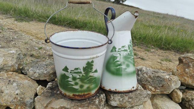 Conjunto balde e jarro vintage