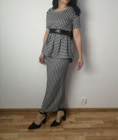 Elegancki komplet długi maxi pepitka kokarda pasek czarny biały