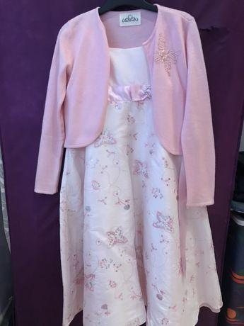 Wizytowa suknia, sukienka na 9 L. - 134 blady róż na wesele dla damy